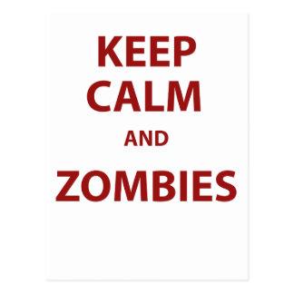 Guarde la calma y a los zombis tarjetas postales