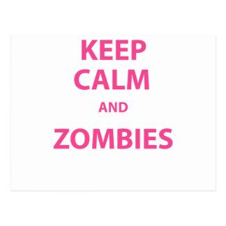 ¡Guarde la calma y a los zombis! Tarjetas Postales