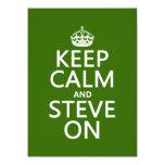 Guarde la calma y a Steve en (cualquier color) Invitación 13,9 X 19,0 Cm