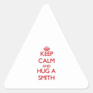 Guarde la calma y abrace a Smith Calcomanías Trianguladas Personalizadas