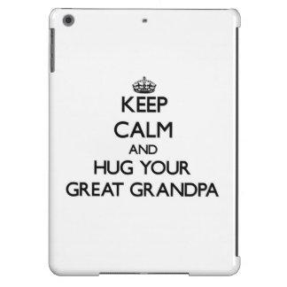 Guarde la calma y abrace a su gran abuelo funda para iPad air
