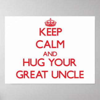 Guarde la calma y ABRACE a su gran tío Posters