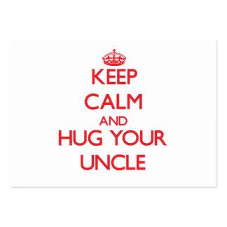 Guarde la calma y ABRACE a su tío Plantilla De Tarjeta De Negocio