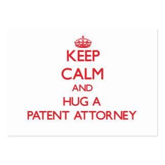 Guarde la calma y abrace a un abogado de patentes tarjetas de visita