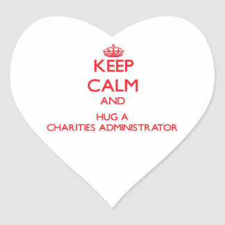 Guarde la calma y abrace a un administrador de las pegatina en forma de corazón