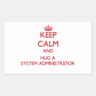 Guarde la calma y abrace a un administrador de rectangular altavoces