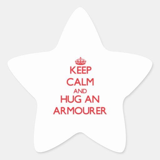 Guarde la calma y abrace a un armero colcomanias forma de estrellaes