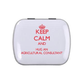 Guarde la calma y abrace a un asesor agrícola jarrones de dulces