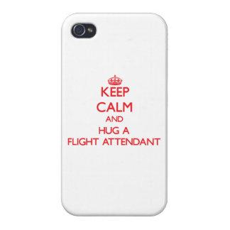 Guarde la calma y abrace a un asistente de vuelo iPhone 4/4S carcasas