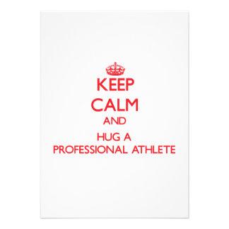 Guarde la calma y abrace a un atleta profesional invitacion personalizada