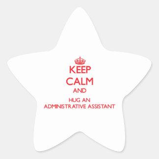 Guarde la calma y abrace a un ayudante administrat colcomanias forma de estrella