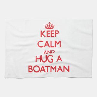 Guarde la calma y abrace a un barquero toallas de cocina