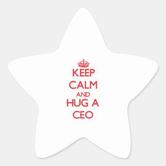 Guarde la calma y abrace a un CEO Calcomanía Forma De Estrella Personalizada