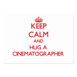 Guarde la calma y abrace a un cinematógrafo tarjeta de negocio