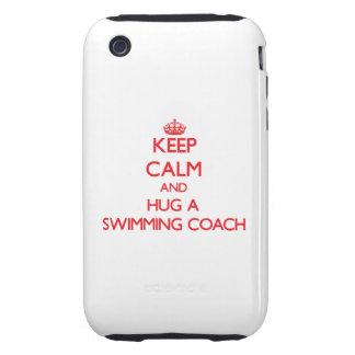Guarde la calma y abrace a un coche de la natación iPhone 3 tough fundas