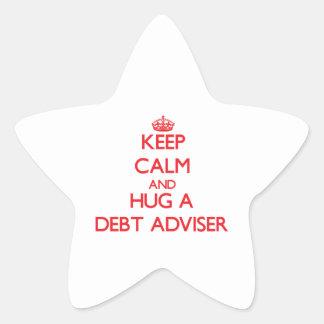 Guarde la calma y abrace a un consejero de la calcomanía cuadrada