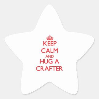 Guarde la calma y abrace a un Crafter Calcomanía Forma De Estrella Personalizada