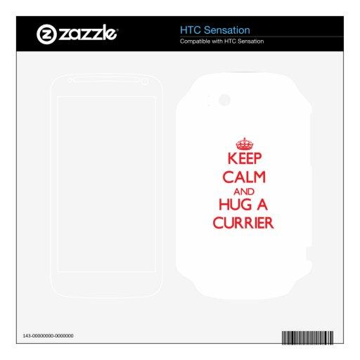 Guarde la calma y abrace a un curtidor HTC sensation calcomanías