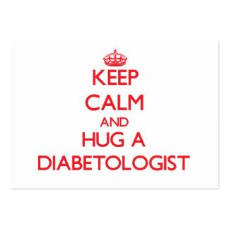 Guarde la calma y abrace a un Diabetologist Tarjetas De Visita Grandes
