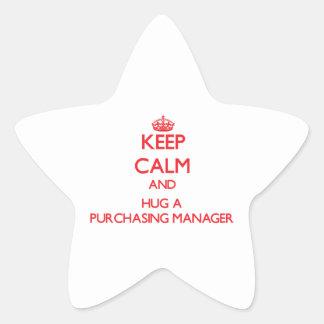 Guarde la calma y abrace a un director de compras colcomanias forma de estrella personalizadas
