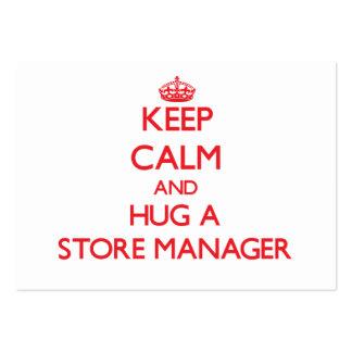 Guarde la calma y abrace a un encargado de tienda plantilla de tarjeta de visita