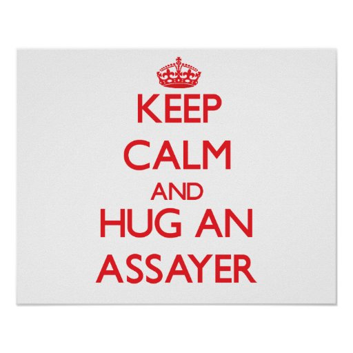 Guarde la calma y abrace a un ensayador posters