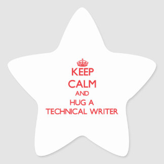 Guarde la calma y abrace a un escritor técnico calcomania forma de estrella personalizadas