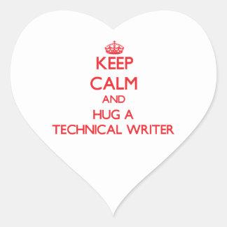 Guarde la calma y abrace a un escritor técnico pegatinas de corazon personalizadas
