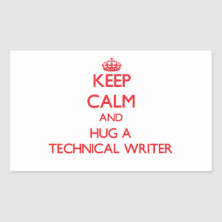 Guarde la calma y abrace a un escritor técnico rectangular altavoz