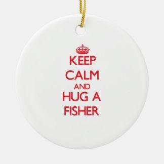 Guarde la calma y abrace a un Fisher Adornos De Navidad