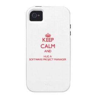 Guarde la calma y abrace a un gestor de proyecto d Case-Mate iPhone 4 carcasas