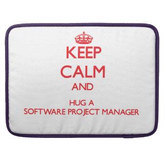Guarde la calma y abrace a un gestor de proyecto d fundas para macbook pro