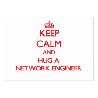 Guarde la calma y abrace a un ingeniero de la red tarjetas de visita grandes
