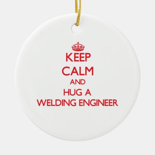 Guarde la calma y abrace a un ingeniero de la sold ornamentos de navidad