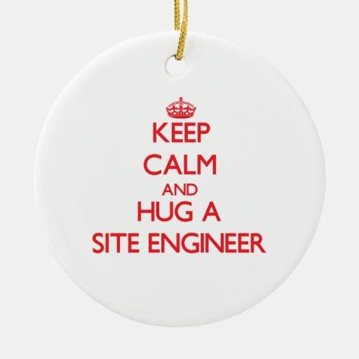 Guarde la calma y abrace a un ingeniero del sitio ornamentos de reyes