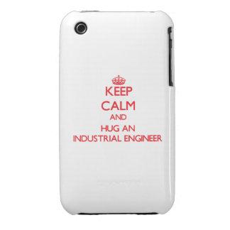 Guarde la calma y abrace a un ingeniero industrial Case-Mate iPhone 3 funda