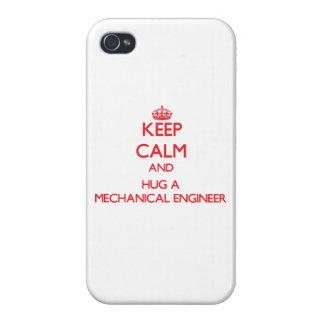 Guarde la calma y abrace a un ingeniero industrial iPhone 4 protectores