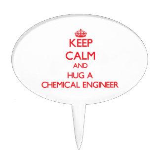 Guarde la calma y abrace a un ingeniero químico figura para tarta