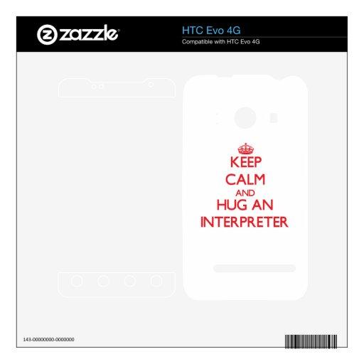 Guarde la calma y abrace a un intérprete calcomanías para HTC evo 4G