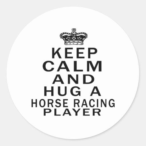 Guarde la calma y abrace a un jugador de la etiquetas redondas