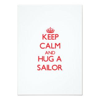 """Guarde la calma y abrace a un marinero invitación 5"""" x 7"""""""