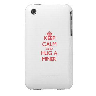 Guarde la calma y abrace a un minero iPhone 3 Case-Mate carcasa