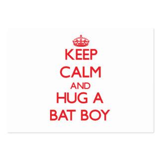 Guarde la calma y abrace a un muchacho del palo tarjetas de visita grandes