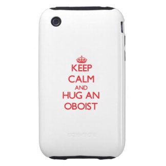 Guarde la calma y abrace a un oboe iPhone 3 tough carcasas