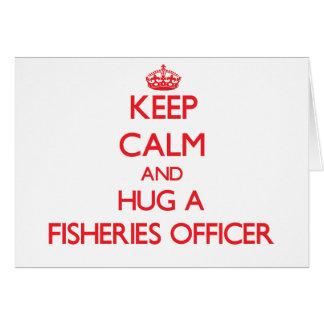 Guarde la calma y abrace a un oficial de las indus tarjeta de felicitación