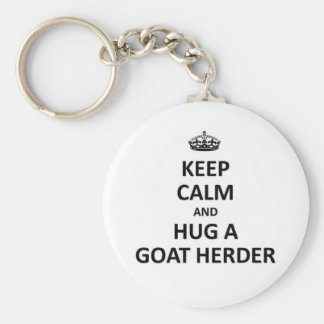 Guarde la calma y abrace a un pastor de la cabra llavero personalizado