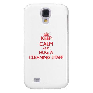 Guarde la calma y abrace a un personal de limpieza