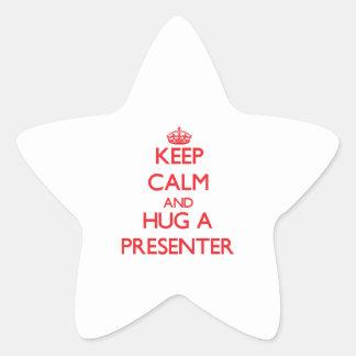 Guarde la calma y abrace a un presentador colcomanias forma de estrella personalizadas