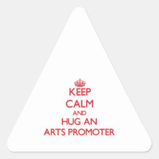 Guarde la calma y abrace a un promotor de los arte pegatinas trianguladas personalizadas