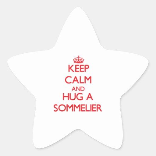 Guarde la calma y abrace a un Sommelier Calcomanías Forma De Estrellas Personalizadas